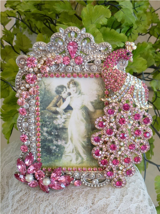 Elegant Bejeweled Pink Peacock Frame From The Collection