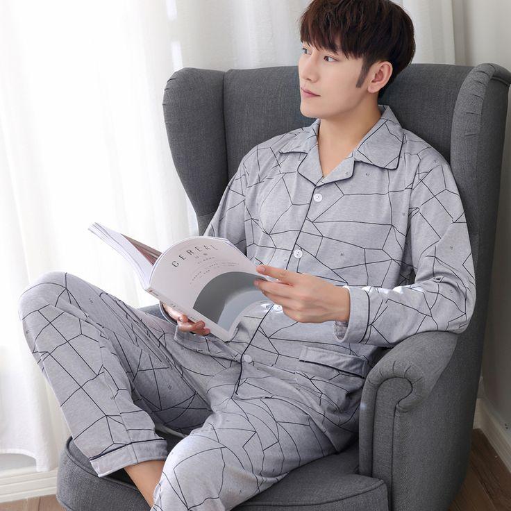 2017 High Quality Mens Pajamas New Autumn Pijama Men Pajama Sets Long-sleeve Pyjamas Men Pijamas Plus Size XXXL #Affiliate