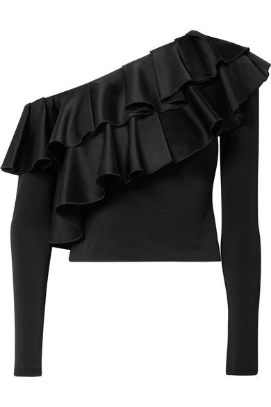 ALICE AND OLIVIA Izzy cropped ruffled satin and stretch-crepe top. #aliceandolivia #cloth #