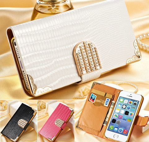 Wallet crystal bling PU leather case for iPhone 5- 5S