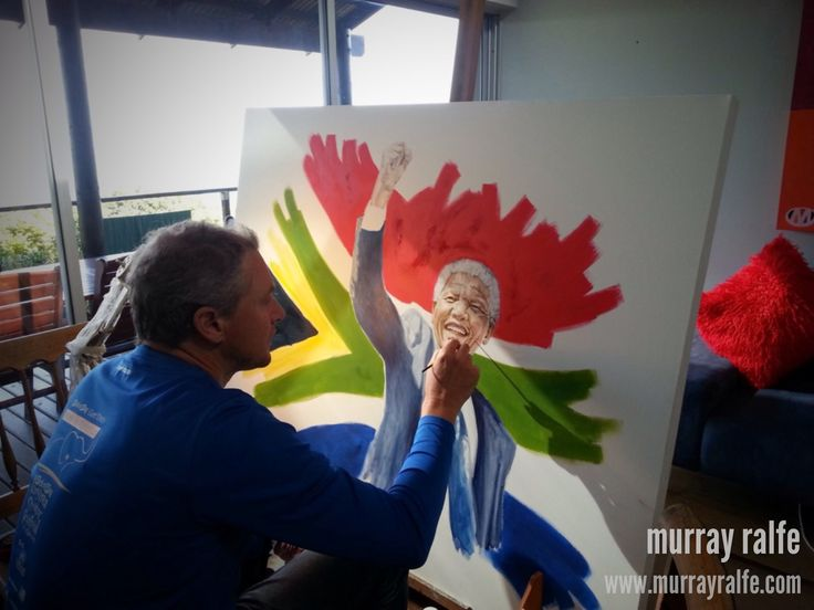 Painting Nelson Mandela, oil on canvas by Murray Ralfe www.murrayralfe.com
