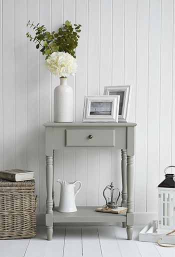 Charleston grey table for grey and white interiors. Bedroom, living room and hallway furniture