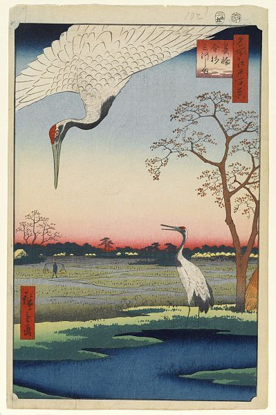 蓑輪金杉三河島 :歌川広重  名所江戸百景 冬の部103