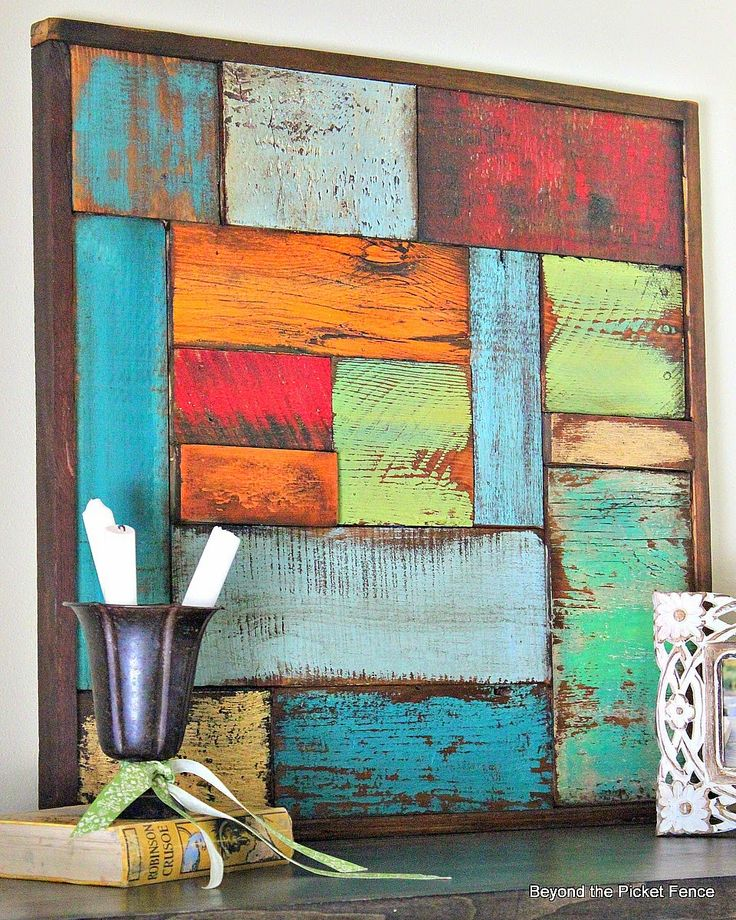 Salvaged Wood Art Tutorial http://bec4-beyondthepicketfence.blogspot.com/2014/05/salvaged-wood-art.html