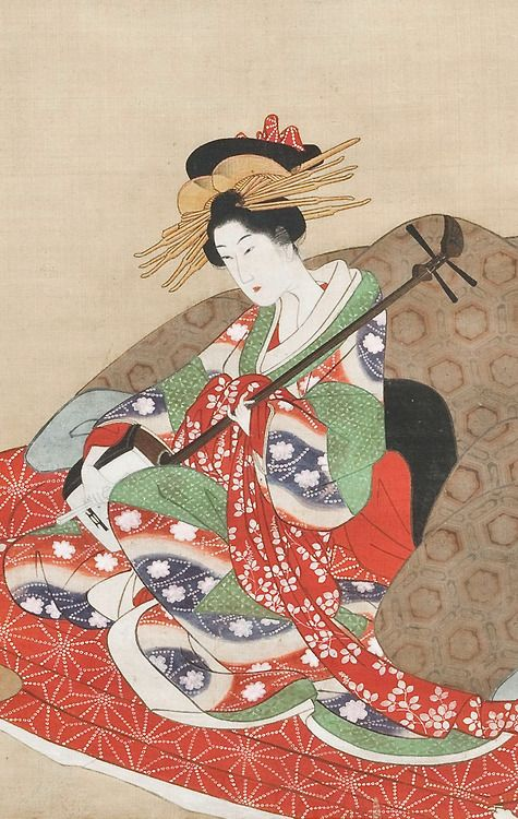 [detail] Courtesan Playing Shamisen with Attendant. . ink and color on silk. About 1810's, Japan. Artist Utagawa Kuninaga