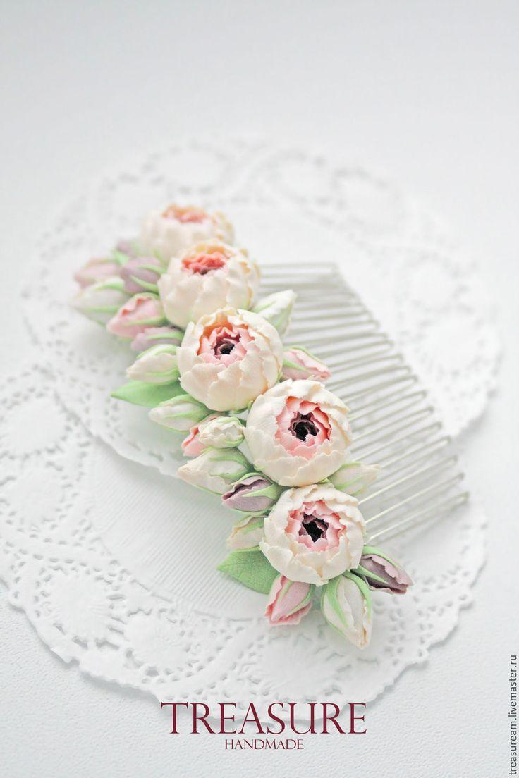 Купить Гребешок с цветочной композицией из пяти пионов - кремовый, нежно-розовый, гребешок с цветами