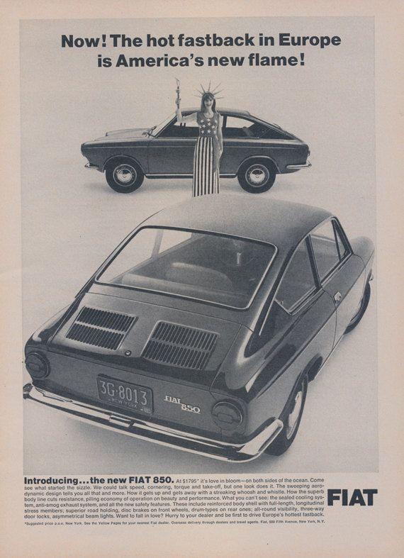 1966 Fiat 850 Fastback Car Photo Ad Vintage Auto by AdVintageCom