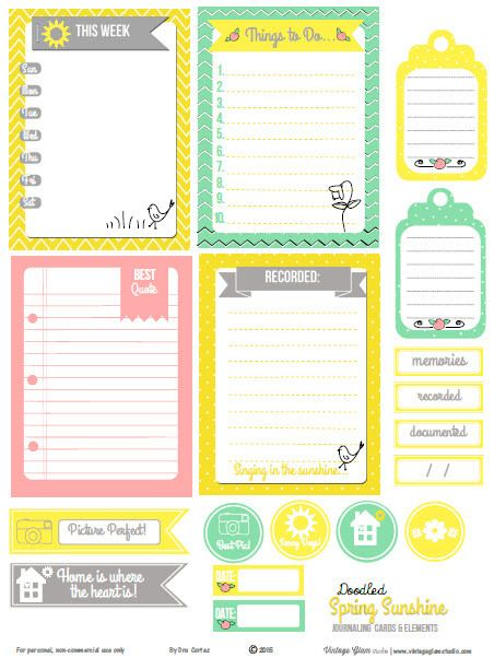 Free Spring Sunshine Journaling Cards and Elements  from Vintage Glam Studio