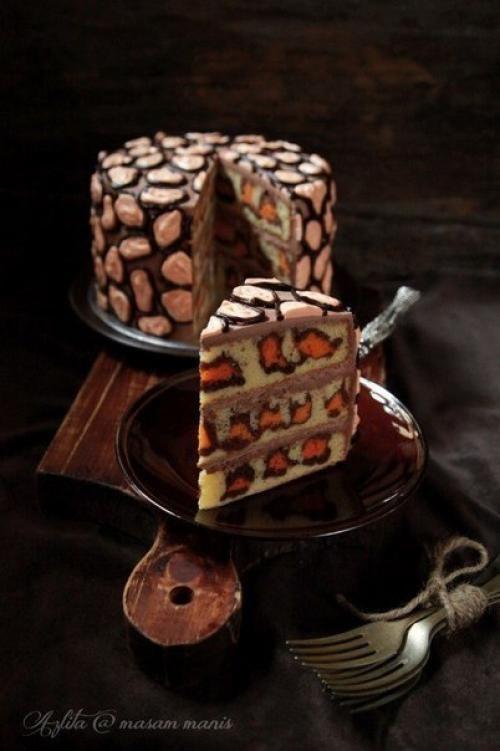 Леопардовый торт.   Вот это красота!   Шедевры кулинарии
