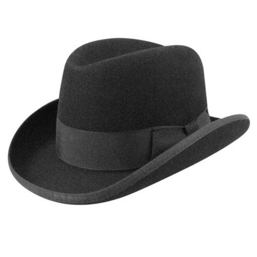 1920s Style Hats for Men- Black Homburg  #1920sfashion #Boardwalkempire