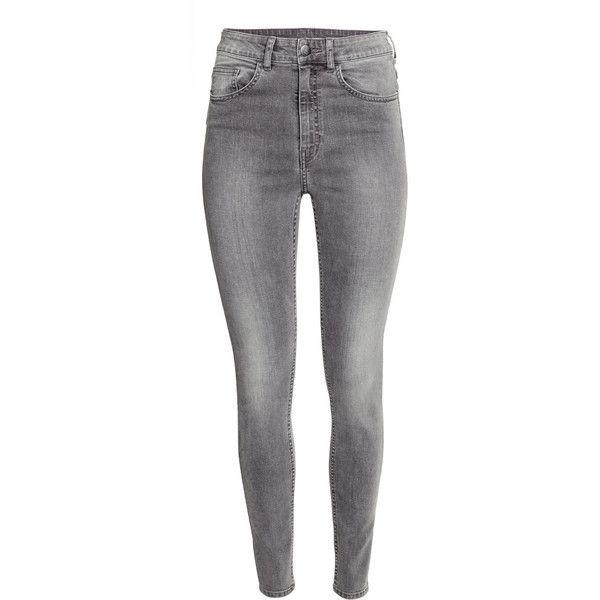 H&M Trousers High waist ($31) ❤ liked on Polyvore featuring pants, grey, h&m, highwaist pants, slim leg pants, high waisted trousers and gray pants