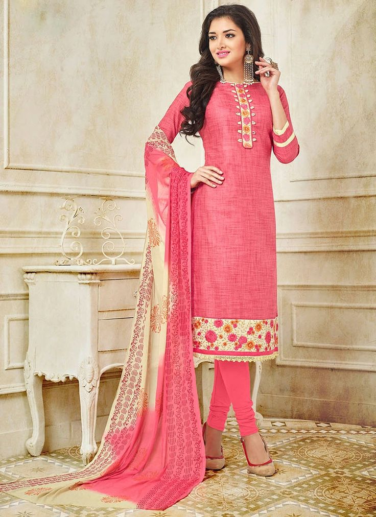Buy Excellent Pink Embroidered Work Silk Churidar Suit #churidarsuit #readymadesalwar #churidarsalwar