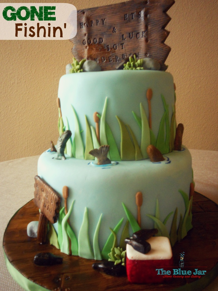 fishing themed army farewell cake