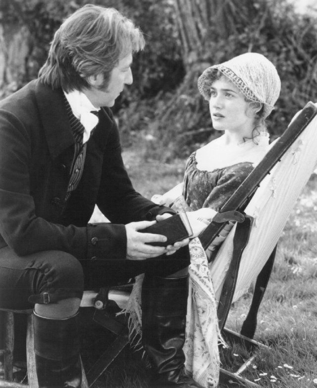 The beautiful moment when she suddenly sees what has been before her all the while....<3    Marianne (Kate Winslet) and Colonel Brandon (Alan Rickman). Sense and Sensibility, 1995.