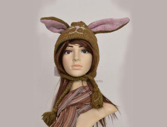 Brown bunny rabbit animal hat   warm hat  knit by HatsMittensEtc