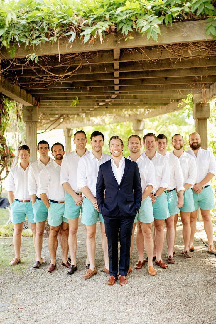Beach Wedding Idea Groomsmen Attire For Beach Wedding Teal Shorts White Bu Sum Beach Wedding Groom Attire Groomsmen Outfits Beach Wedding Groomsmen