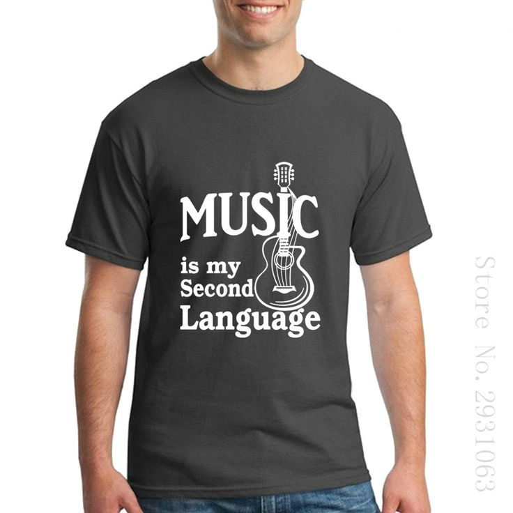 Mens Short Sleeved Hipster Tops Tees Music is My Second Language T Shirts Guitar Dress Plus. Click visit to buy #TShirt