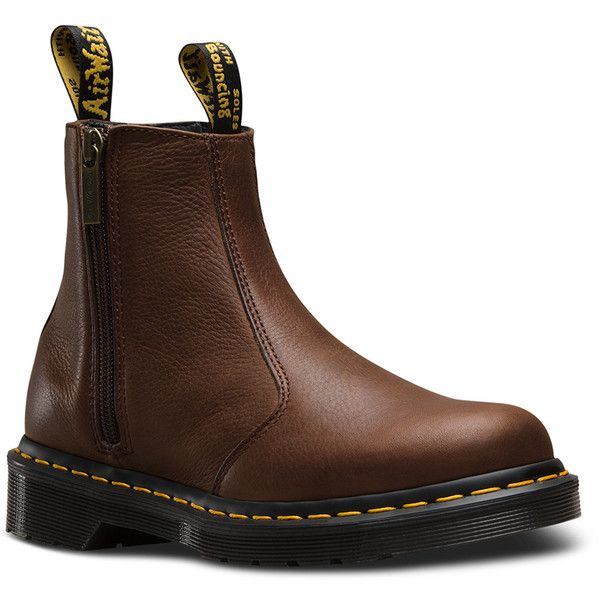 Dr. Martens Leather 2976 W/zips Boots (€115) ❤ liked on Polyvore featuring shoes, boots, ankle booties, dark brown, dark brown leather boots, pull on boots, chelsea bootie, zip boots and leather ankle booties