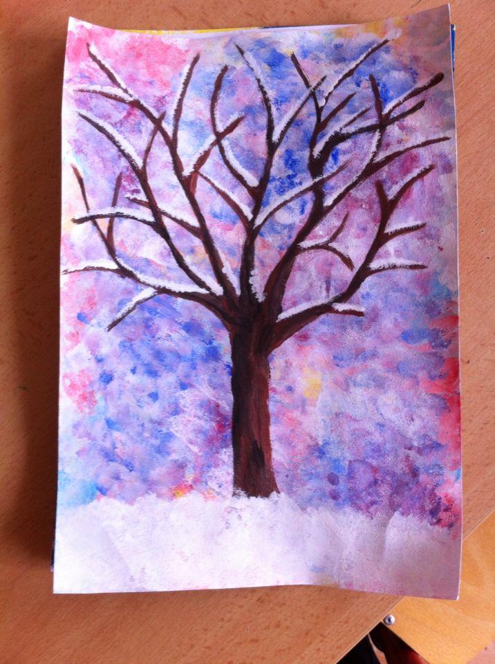Zima tupování malba