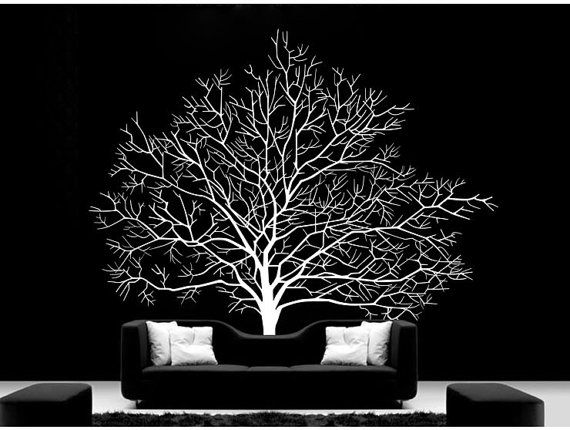 Large tree wall decal vinyl winter tree wall decal tree for Black and white tree wallpaper mural