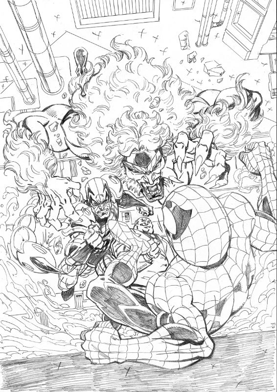 Spiderman vs Sabretooth, Scorpion and Kingpin by John Royle