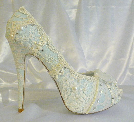 Something Blue Lacey bridal shoes with 5 1/4 inch heels .. with vintage lace and…