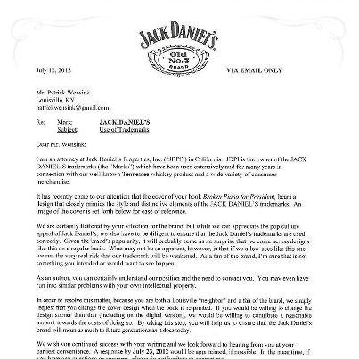 Jack Daniels i pisarz, który użył motywu etykiety tego słynnego alkoholu, na okładce swojej książki, czyli jak rozwiązywać problemy. Case z dużą klasą.