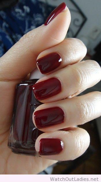 Oxblood Essie nail polish                                                                                                                                                                                 More