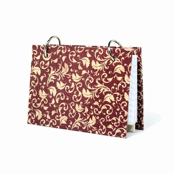 Index card binder red damask daily memory journal by ArtBySunfire