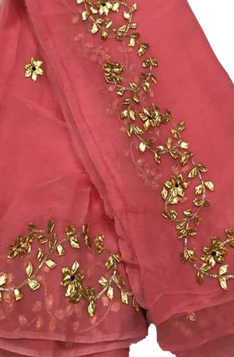 2f29d9da88c124 Pink Gota Work Chiffon Saree