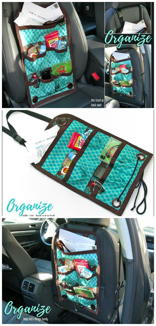 Free sewing pattern and tutorial for this car seat caddy organiser.  My kids are going to love these.  I'm going to personalise them, fill them with coloring supplies and small toys and present them for our road trip.  Should keep them busy and me sane!  Great sewing idea.