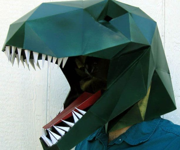 Piece together a fierce pre-historic costume without breaking the bank by assembling this DIY paper T-Rex mask. Using this easy to follow PDF, anyone can craft themselves a cool and scary looking Tyrannosaurs Rex you can customize with any color you'd like.
