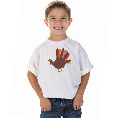 Give a Turkey a Hand  Designed by Kristen Thompson    Making a turkey shirt with painted handprints is an unforgettable way to celebrate Thanksgiving! Use Tulip® Soft® fabric paints in autumn colors and you've got a memorable keepsake to wear and cherish. Continue the tradition of making these fun tees from year to year so you can see how they grow!