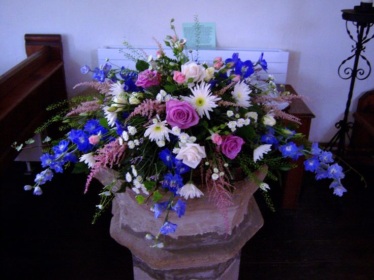 Font arrangement in blues and pinks flower arrangements for Pink and blue flower arrangements