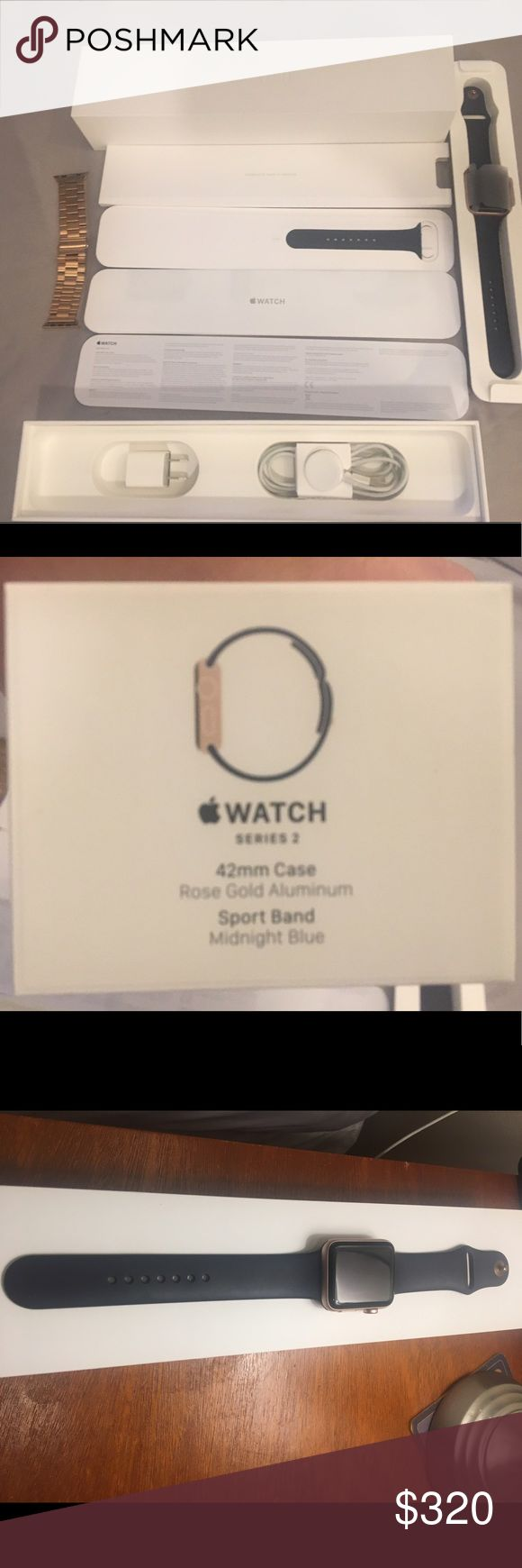 Apple Watch Series 2 42mm Rose Gold w/warranty I bought in December & I am no longer wearing it because of my carpal tunnel. Watch is in excellent condition except for the small tiny mark as showing on the last picture(top left side, not noticeable), This does not affect the watch's performance. Genuine Apple Watch S2, I purchased this watch and warranty for $479. Apple Accessories Watches