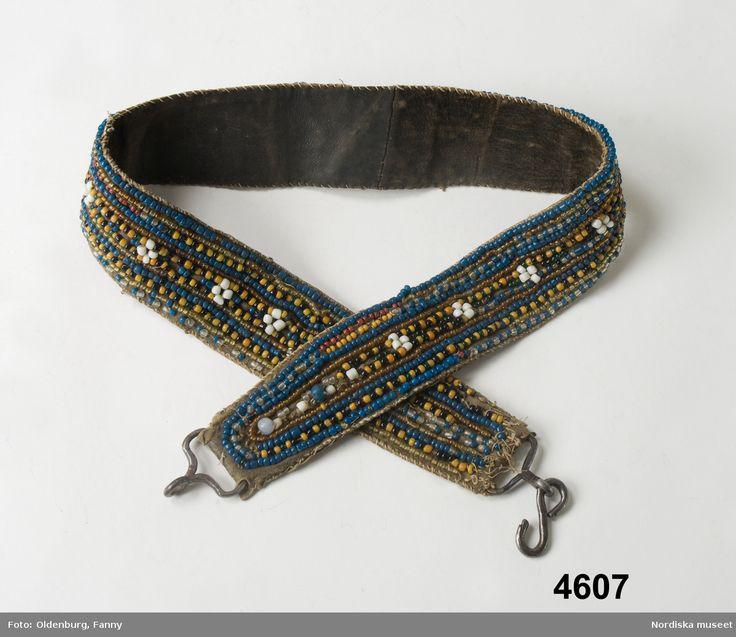 Bälte från Lule lappmark inköpt för 5 kr 1874. Pearl belt from Lule lappmark, 1874