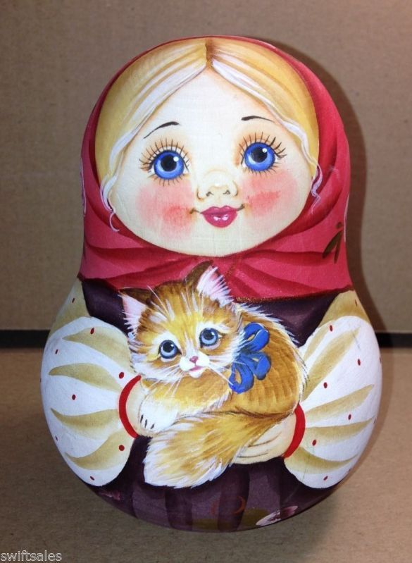 """Russian traditional toy """"Nevalyashka"""" is a wooden roly-poly bell doll. #folk…"""