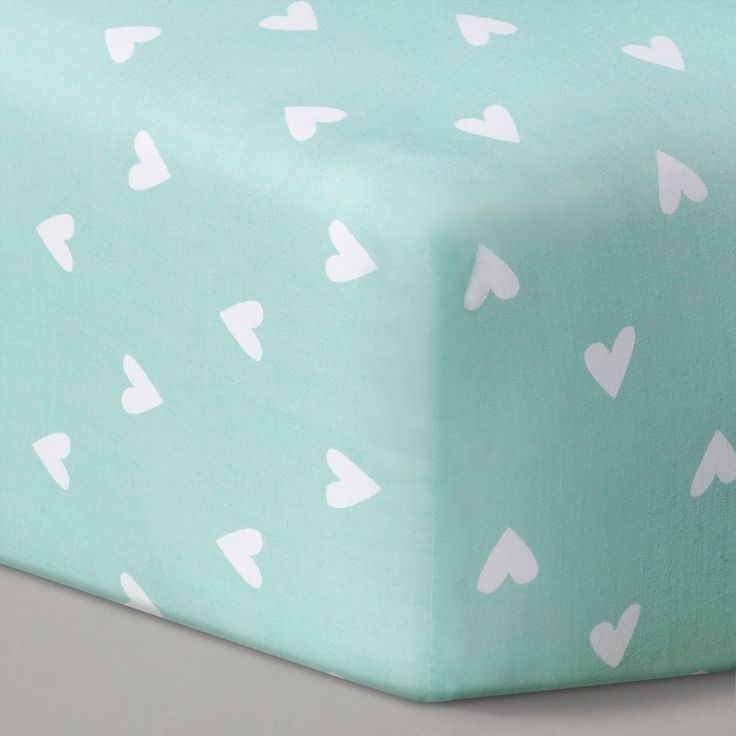 Circo Woven Fitted Crib Sheet - Mint Hearts, Green