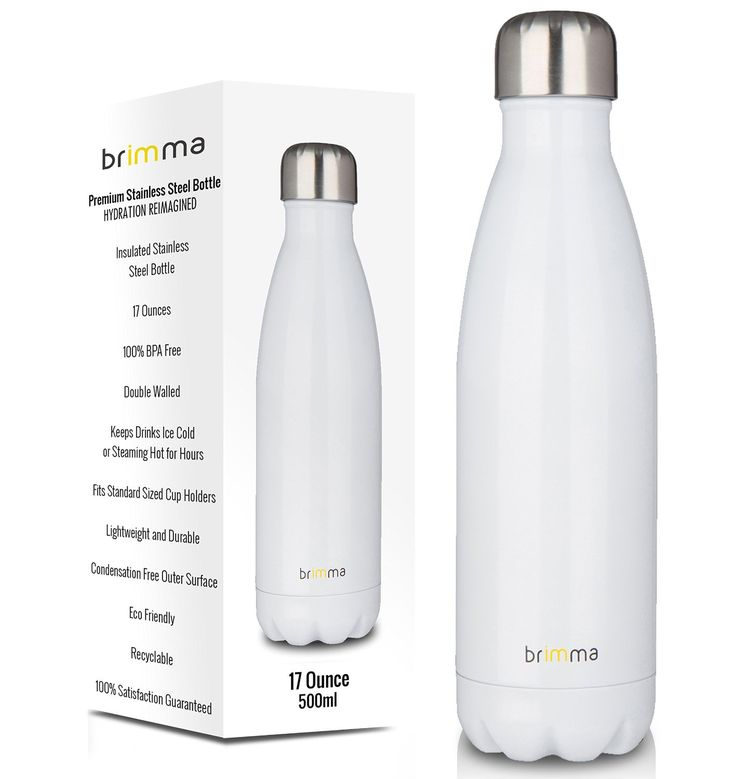 Insulated Stainless Steel Water Bottle 17 Oz White