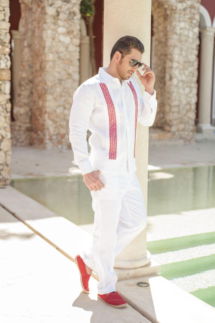 Guayabera de lino blanco manga larga con tiras bordadas - Zapateros de tela ...
