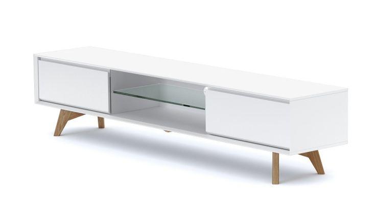 Mueble TV blanco mate y patas de madera - Svartan