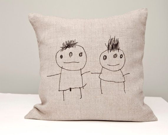 Hand  printed  on natural linen  boy and girl hildren by rasaoga, $31.00c