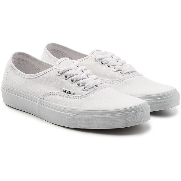 Vans Authentic Sneakers (1.000.760 IDR) ❤ liked on Polyvore featuring shoes, sneakers, white, white trainers, white sneakers, vans footwear, vans shoes and white shoes