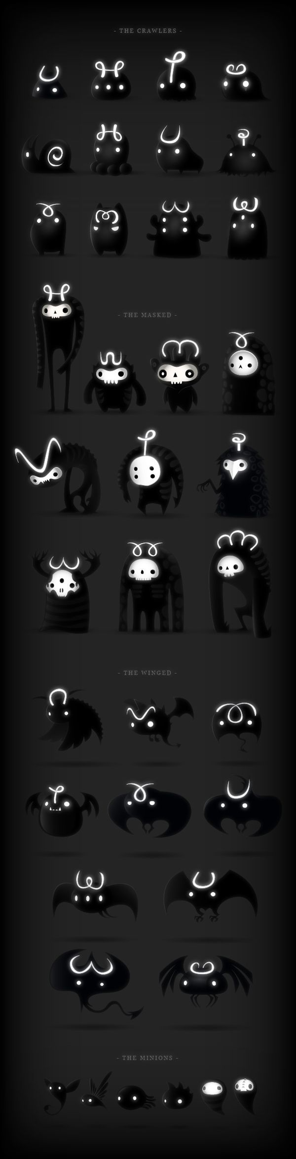 This could be designs for Oddy Smog's Misadventure 2!! But they are DARKLINGS by Juan Casini, via Behance #Arts Design