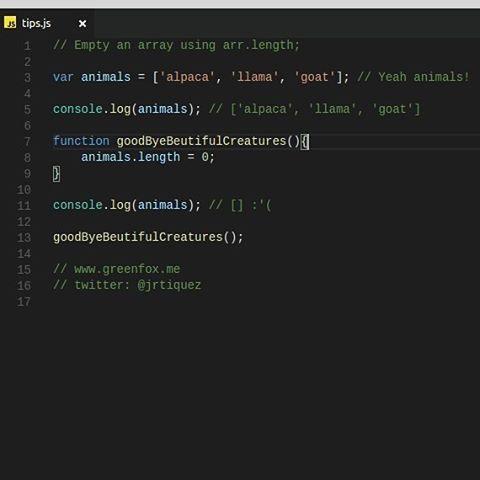 Empty an array using arr.length.  www.greenfox.me  #jstips #javascript #tips #code #coding #programming #program #vscode #webdev #webdevelopment #webdeveloper #nodejs #angular #jquery #angularjs #react #js #array