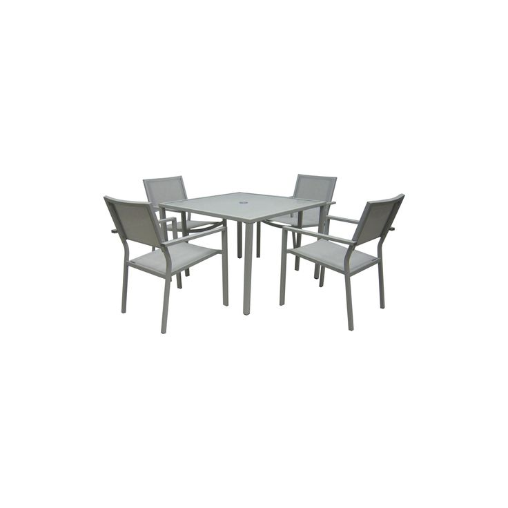 5pc Stack Patio Dining Set - Gray - Threshold