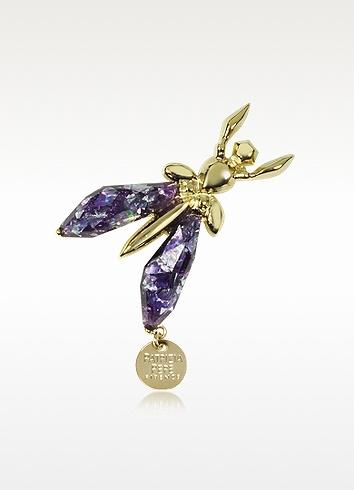 Patrizia Pepe Purple Glitter Fly Brooch