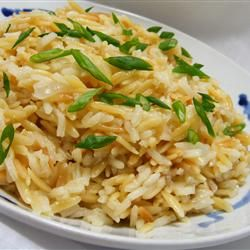Sarah's Rice Pilaf Allrecipes.com.  Very similar to the receipe I use....can also use fideo instead of orzo.  Much less expensive!  A bag of fideo costs .30 cents and lasts a long time...