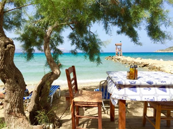 Beach, shade and a tavern means Greek holidays