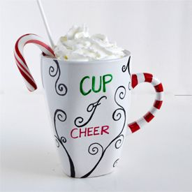 Make a cup of cheer this holiday season for that special someone!  Use permanent marker to personalize.  A step-by-step tutorial!